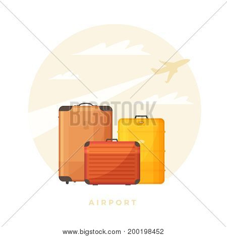 Three colored suitcases for travel on background of departing aircraft. Luggage for vacation. Vector illustration.