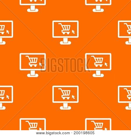 Computer monitor with shopping cart pattern repeat seamless in orange color for any design. Vector geometric illustration