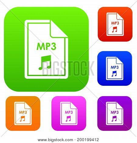 File MP3 set icon in different colors isolated vector illustration. Premium collection