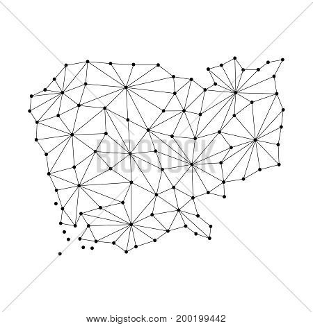 Cambodia map of polygonal mosaic lines network rays and dots vector illustration.