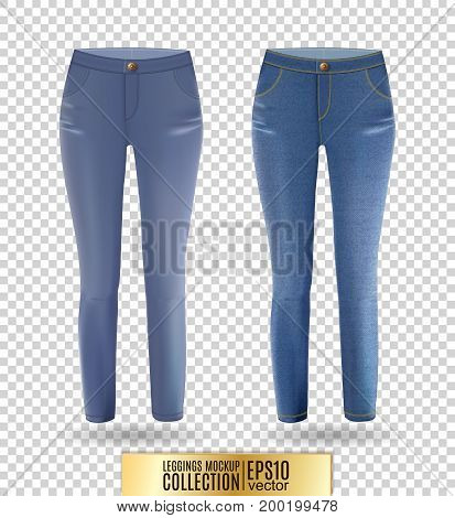 Blank leggings mockup set, blue and denim on transparent background. Clear leggins template. Cloth pants design presentation. Sport pantaloons stretch tights model wearing.