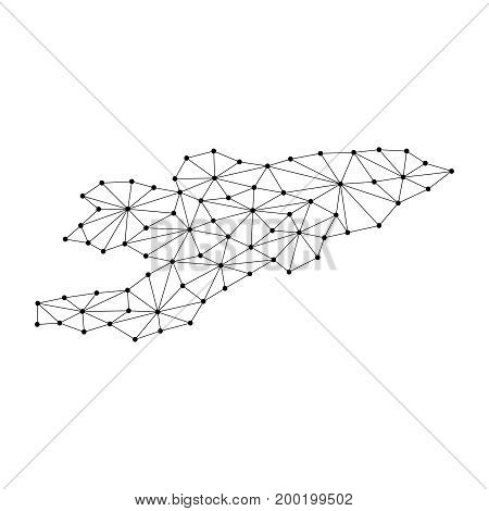Kyrgyzstan map of polygonal mosaic lines network rays and dots vector illustration.