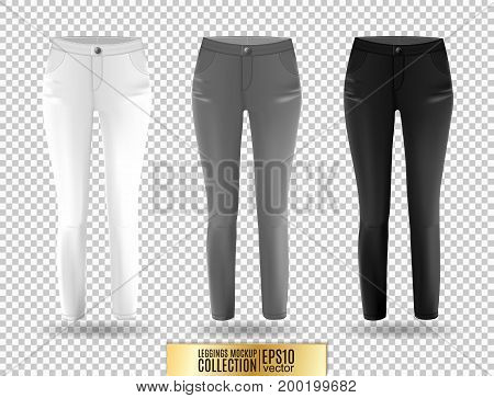 Blank leggings mockup set, white, gray and black on transparent background. Clear leggins template. Cloth pants design presentation. Sport pantaloons stretch tights model wearing.