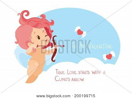 Character design of chibi cawaii cartoonish cupid with bow and arow archering on flying heart. Flat cute card design with handwritten humor Valentine s day message