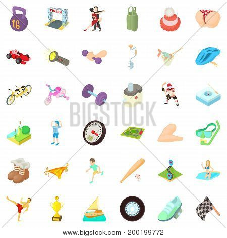 Activity man icons set. Cartoon style of 36 activity man vector icons for web isolated on white background