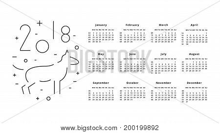 Calendar for 2018 Year on White Background. 2018 Chinese new year of Dog. Monthly calendar 2018 with cute dog.
