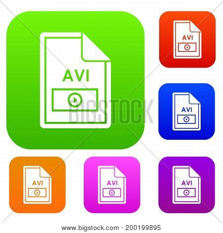 File AVI set icon in different colors isolated vector illustration. Premium collection