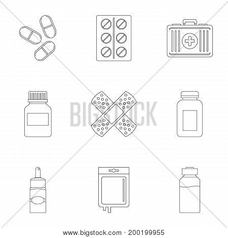 Medical care icon set. Outline style set of 9 medical care vector icons for web isolated on white background