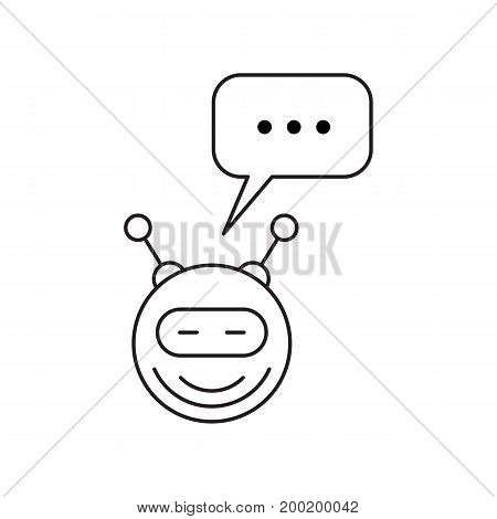 A cartoon robot in a linear style isolated on white background with speech bubble for text