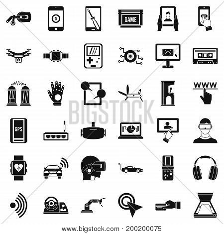Computer adjustment icons set. Simple style of 36 computer adjustment vector icons for web isolated on white background