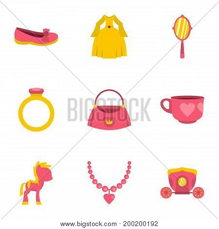 Princess accessories icon set. Flat style set of 9 princess accessories vector icons for web isolated on white background