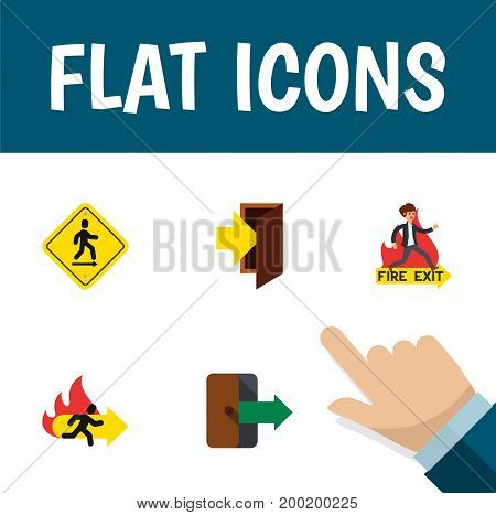 Flat Icon Emergency Set Of Entry, Directional, Emergency And Other Vector Objects