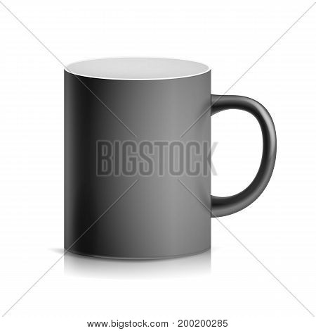 Black Cup, Mug Vector. 3D Realistic Ceramic Or Plastic Cup Isolated On White Background. Classic Blank Cup With Handle Illustration.