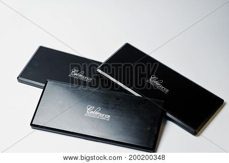 Hai, Ukraine - August 10, 2017: Close-up Photo Of Three Black Closed Makeup Palettes By Colordance O