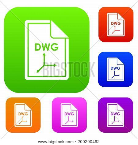 File DWG set icon in different colors isolated vector illustration. Premium collection
