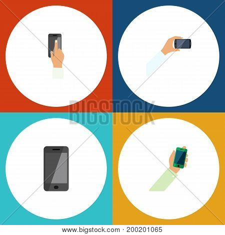 Flat Icon Smartphone Set Of Touchscreen, Telephone, Keep Phone And Other Vector Objects