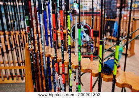 Hai, Ukraine - August 10, 2017: Close-up Photo Of Colorful Fishing Rods By Apache And Status In Shop