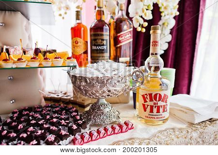 Hai, Ukraine - August 10, 2017: Four Bottles Of Alcohol By Pampero, Brandy, Red Label And Flor Di Vi