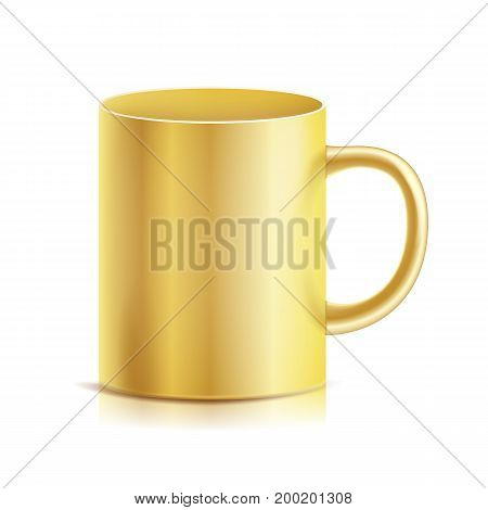 Gold Cup, Mug Vector. 3D Realistic Golden Cup Isolated On White Background. Classic Metal Mug Template With Handle Illustration.
