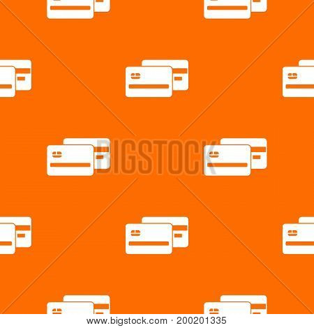 Credit card pattern repeat seamless in orange color for any design. Vector geometric illustration