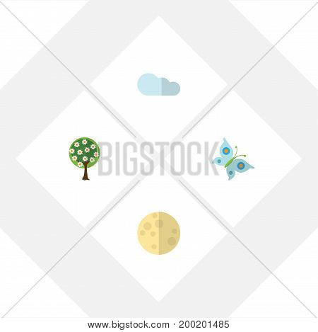 Flat Icon Nature Set Of Lunar, Tree, Overcast And Other Vector Objects