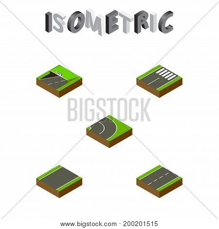 Isometric Road Set Of Unilateral, Footer, Driveway And Other Vector Objects