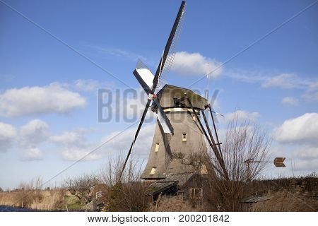 The old Dutch windmills, Holland, rural expanses .