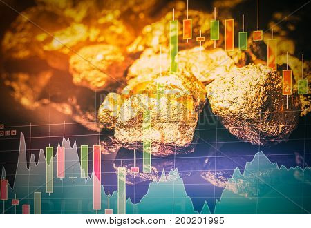 Gold nuggets isolated on black background. Financial analysis.