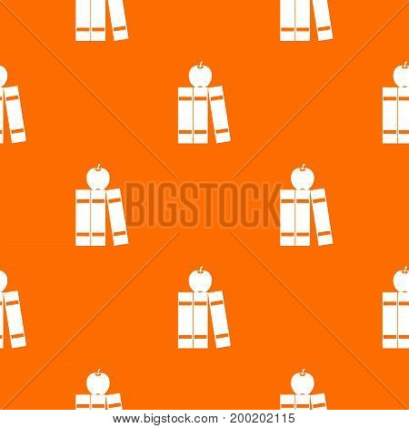 Stack of books and apple pattern repeat seamless in orange color for any design. Vector geometric illustration