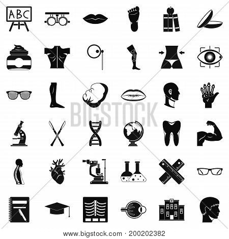 Human organ icons set. Simple style of 36 human organ vector icons for web isolated on white background