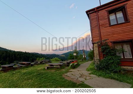Wooden shelter at the top of the mountain.