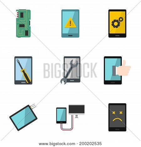 Phone diagnostics icon set. Flat style set of 9 phone diagnostics vector icons for web isolated on white background