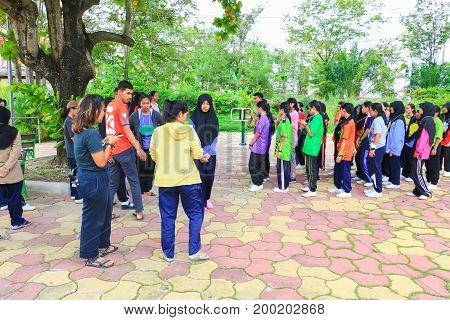 YALA THAILAND - August 17 2017: Student University Cleaning Prepared volunteer Event for Environmental in the Public Park