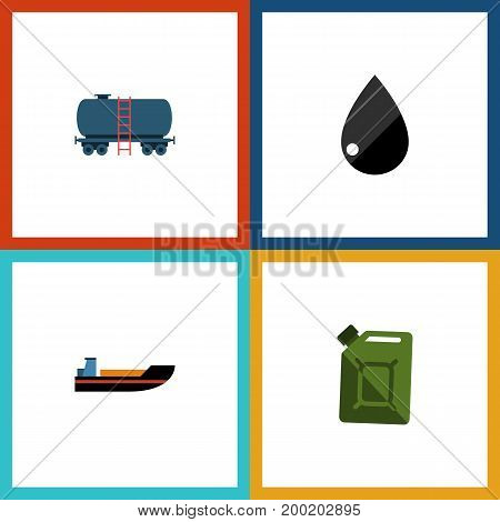 Flat Icon Fuel Set Of Fuel Canister, Boat, Container And Other Vector Objects