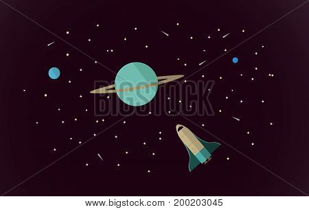 Vector flat space design background. Cute template with Spaceship, Rocket, Stars in Outer space