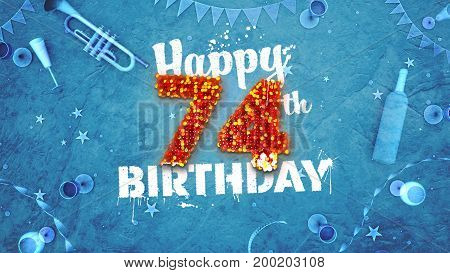 Happy 74Th Birthday Card With Beautiful Details