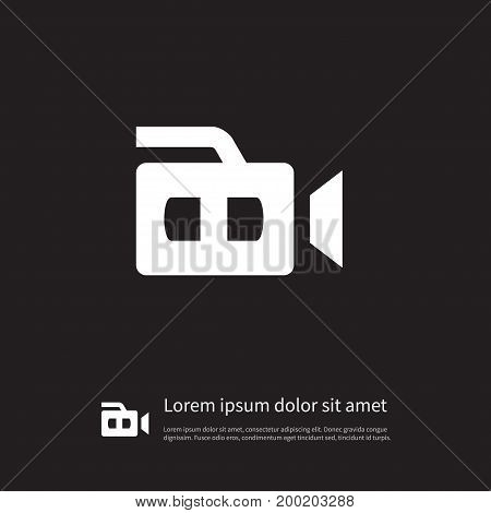 Recording Vector Element Can Be Used For Camcorder, Recording, Equipment Design Concept.  Isolated Camcorder Icon.