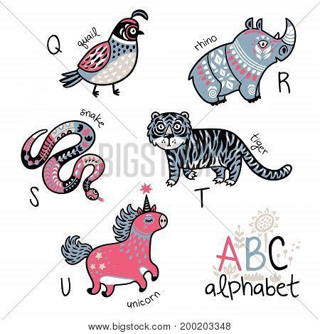 Zoo alphabet with cartoon animals. Wall art print. English ABC vector design for kids
