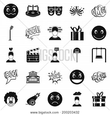 Emotional icons set. Simple set of 25 emotional vector icons for web isolated on white background