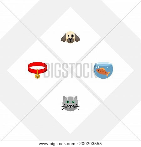 Flat Icon Pets Set Of Kitty, Puppy, Fishbowl And Other Vector Objects