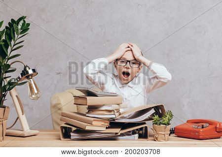 Stressed Kid At Workplace