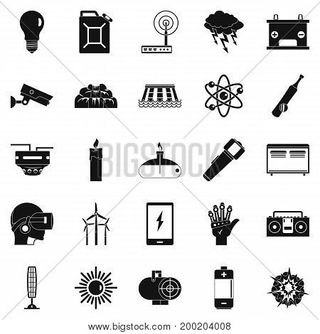 Petrol icons set. Simple set of 25 petrol vector icons for web isolated on white background