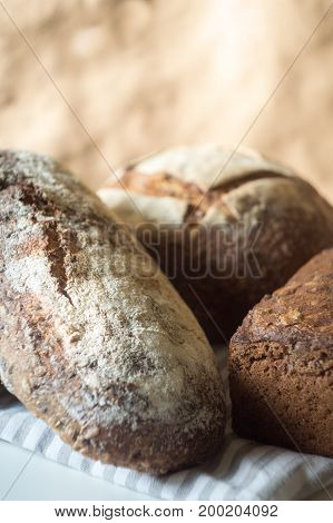 Group of different rustic fresh artisan breads