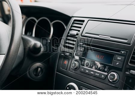 Car inside interior, control panel, dashboard, radio system