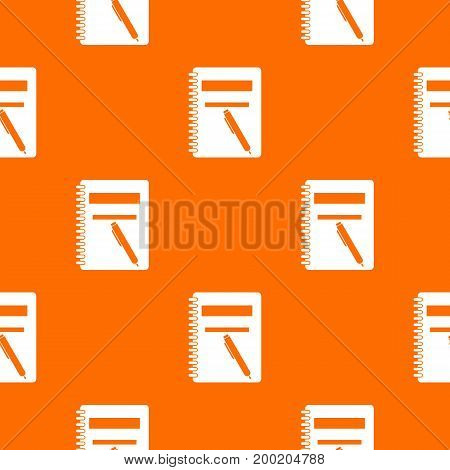 Closed spiral notebook and pen pattern repeat seamless in orange color for any design. Vector geometric illustration