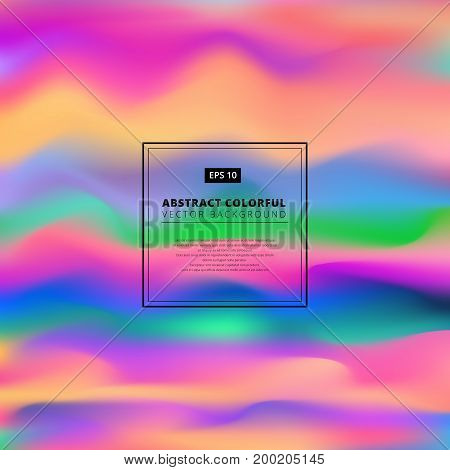 Abstract colorful 3D wavy background. Liquid color Dynamic effect Design template Modern PatternVector illustration