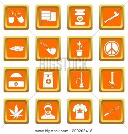 Rastafarian icons set in orange color isolated vector illustration for web and any design