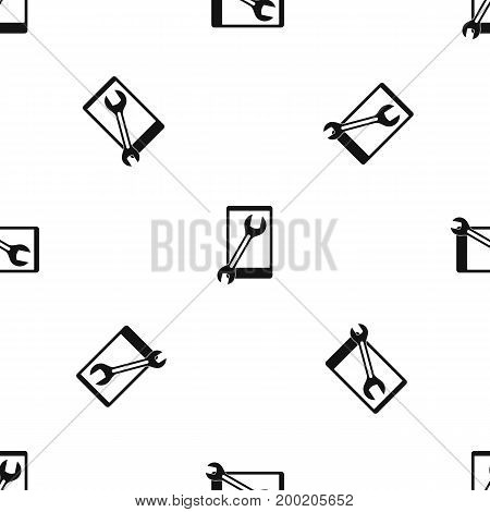 Repaired phone pattern repeat seamless in black color for any design. Vector geometric illustration