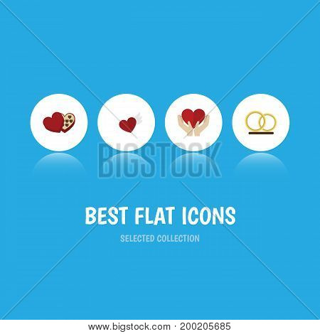 Flat Icon Heart Set Of Save Love, Shaped Box, Wings And Other Vector Objects