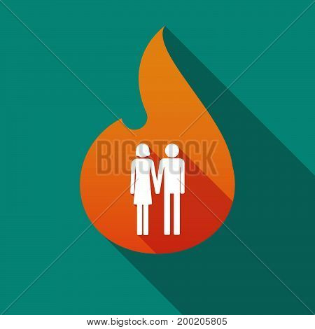 Long Shadow Flame With A Heterosexual Couple Pictogram